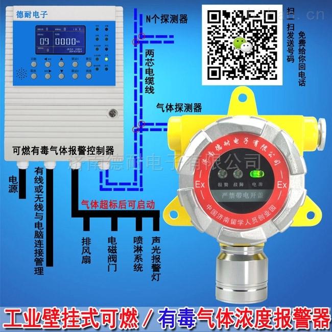 化工厂车间甲烷气体报警仪,可燃气体检测报警器与防爆轴流风机怎么连接