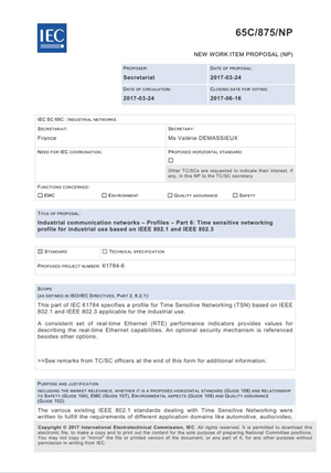 时间敏感网络国际标准在IEC/SC65C成功立项